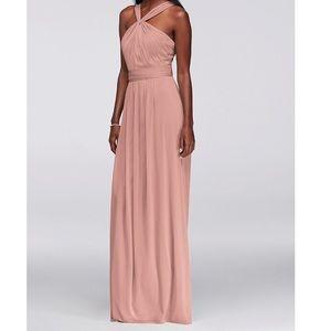 David's Bridal Y-Neck Long Mesh Dress Ballet Pink